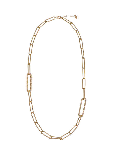 Christian Siriano Gold Tone Paper Clip Chain Long