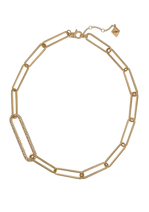 Gold Tone Paper Clip Chain Short Necklace with Crystal Stone Accents