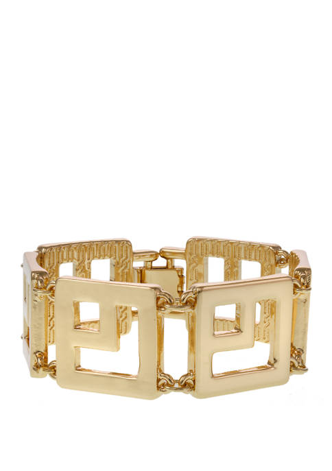 Gold Tone Square Link Bracelet