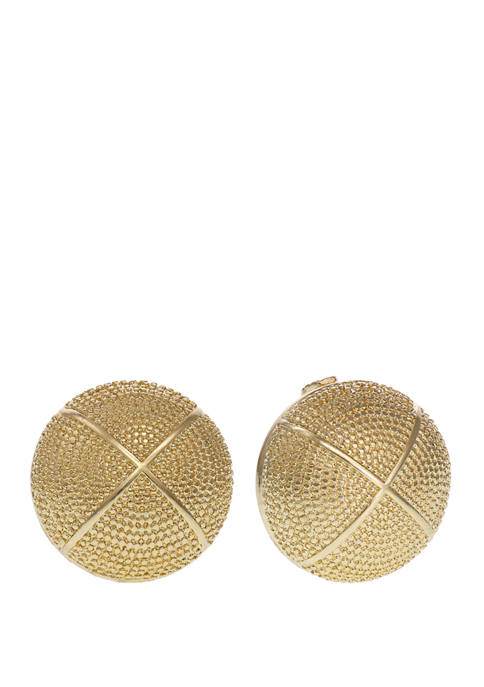 Christian Siriano Gold Tone Textured Button Clip Earrings