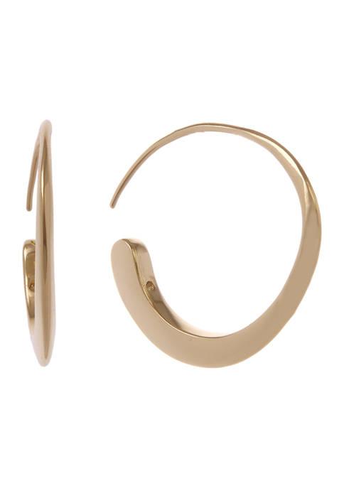 Gold Tone Threader Hoop Earrings