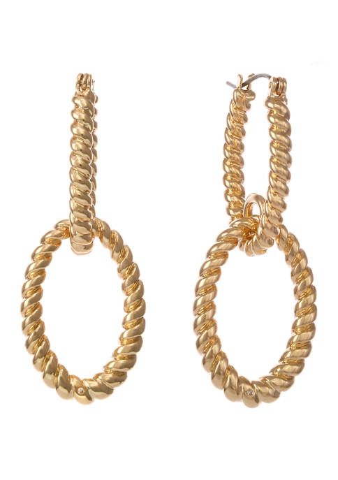 Christian Siriano Gold Tone Twisted Double Hoop Drop