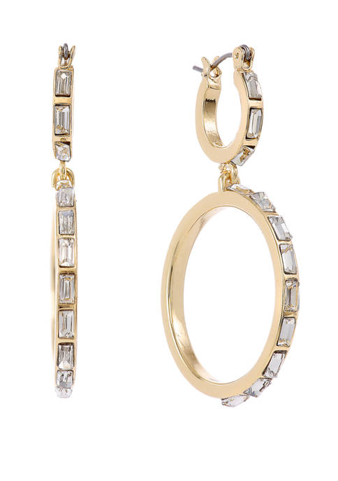 Christian Siriano Gold Tone Double Hoop Earrings with