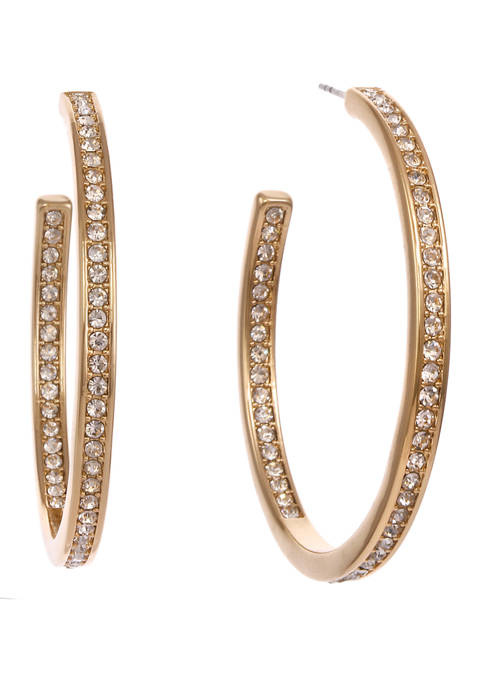 Christian Siriano Gold Tone Crystal Stone Post Hoop