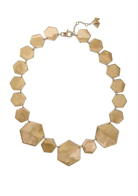 Gold Tone Hexagon Statement Necklace