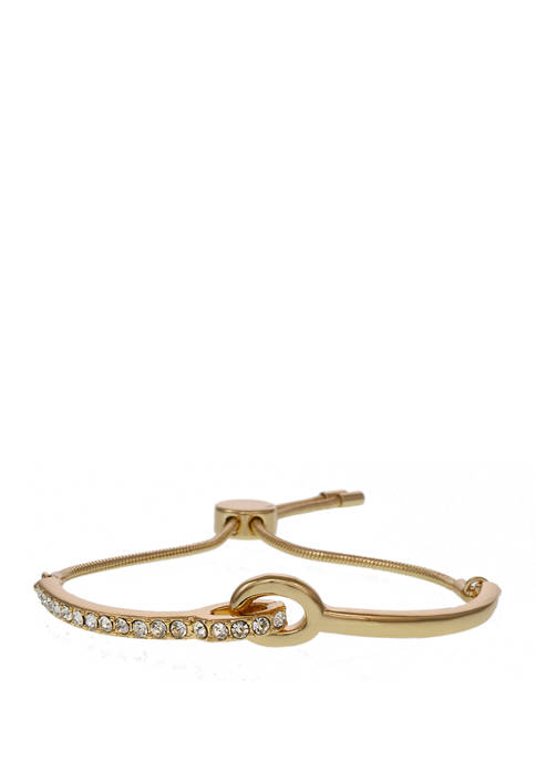 Christian Siriano Gold Tone Slider Bar Bracelet with