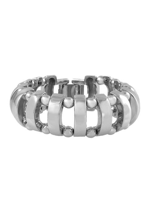 Silver Tone Link Bracelet with Clasp