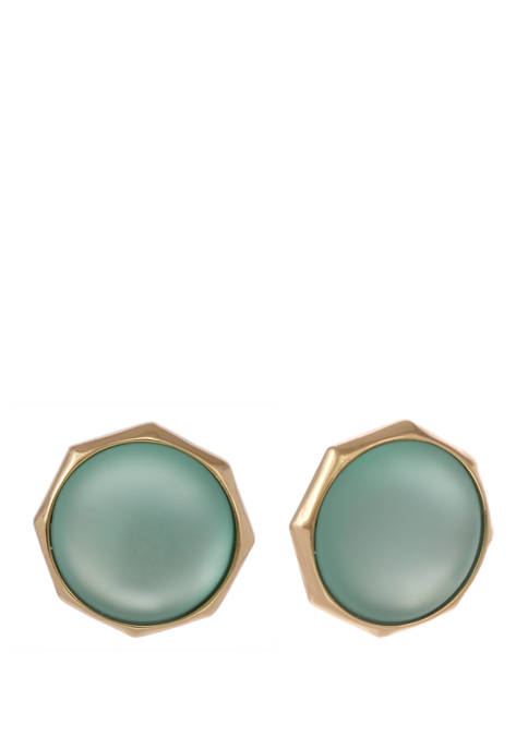 Gold Tone Teal Lucite Button Clip Earrings