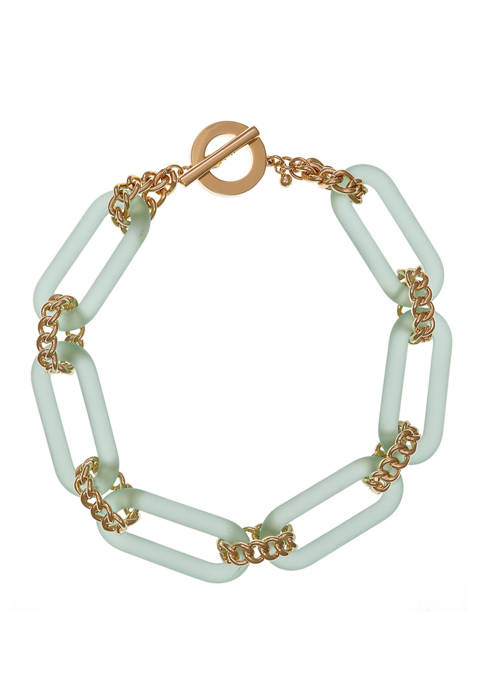 Christian Siriano Teal Lucite Collar Necklace with Gold