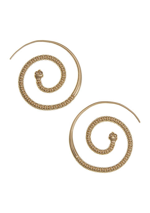 Gold Tone Spiral Post Earrings with CZ Stone Accents