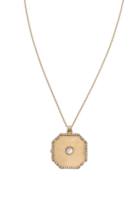 Gold Tone Square Locket Pendant Necklace with Crystal Stone Accents