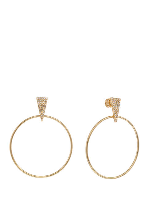 Gold Tone Frontal Hoop Earrings with Crystal Stone Detail