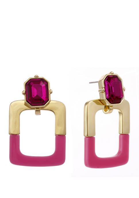 Gold Tone and Pink Square Drop Post Earrings