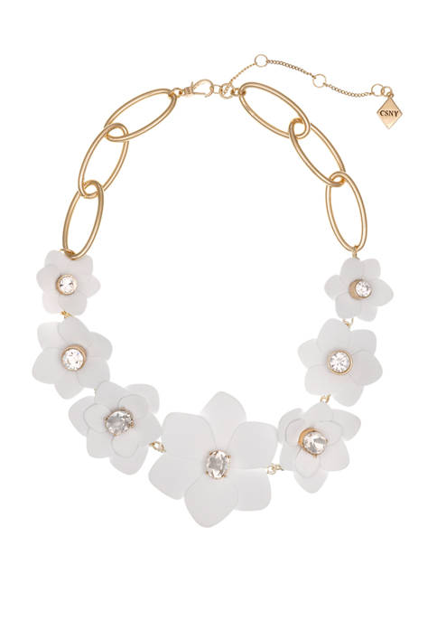 Gold Tone and White Flower Statement Necklace