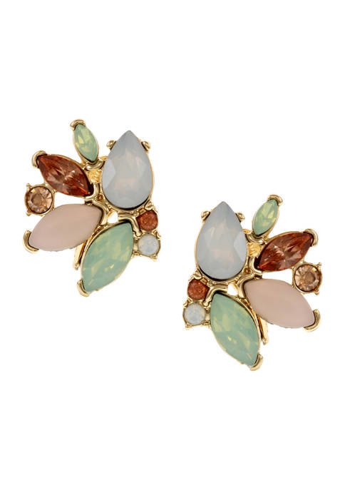 Christian Siriano Gold Tone Multi Stone Button Clip