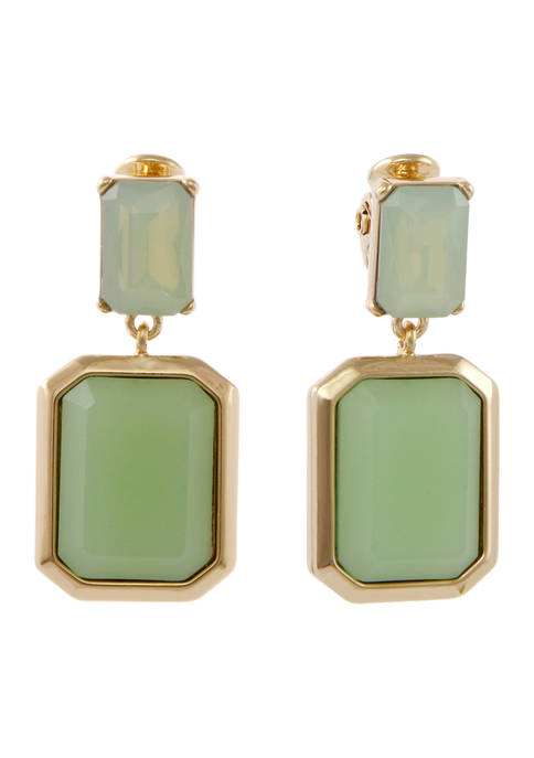 Christian Siriano Gold Tone and Green Square Stone