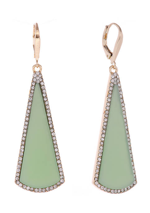 Christian Siriano Gold Tone and Green Linear Drop