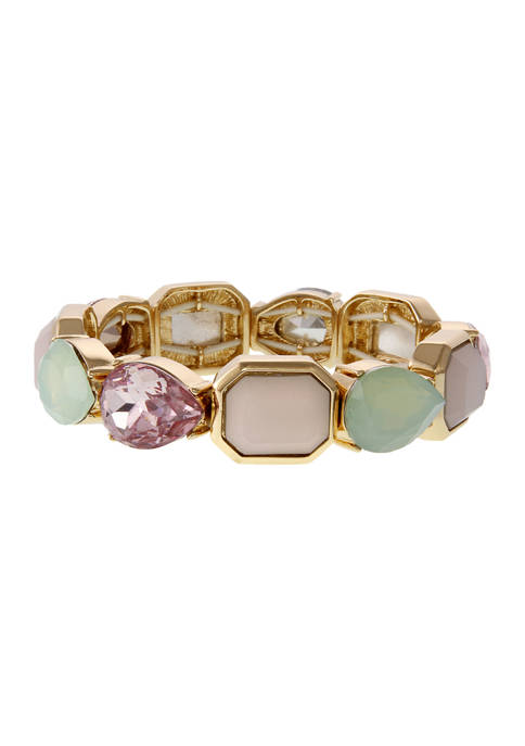 Gold Tone Stretch Bracelet with Multi Colored Stones