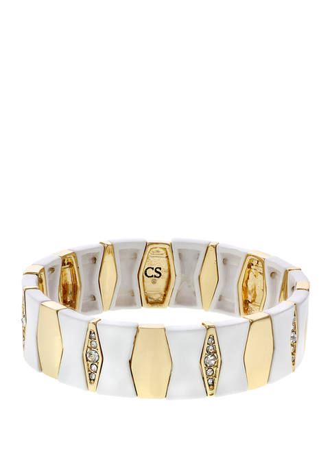 Christian Siriano Gold Tone and White Enamel Stretch