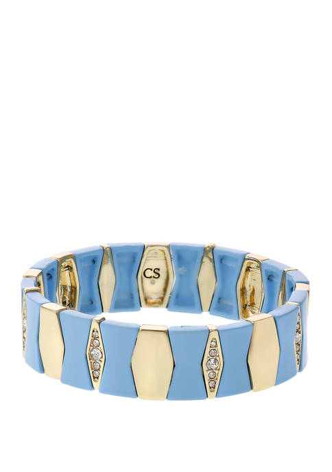 Christian Siriano Gold Tone and Blue Enamel Stretch