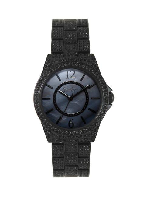 Black Plated Crystal Encrusted Watch