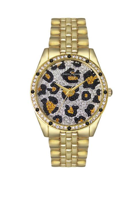 Jessica Simpson Animal Print Pave Crystal Dial Watch