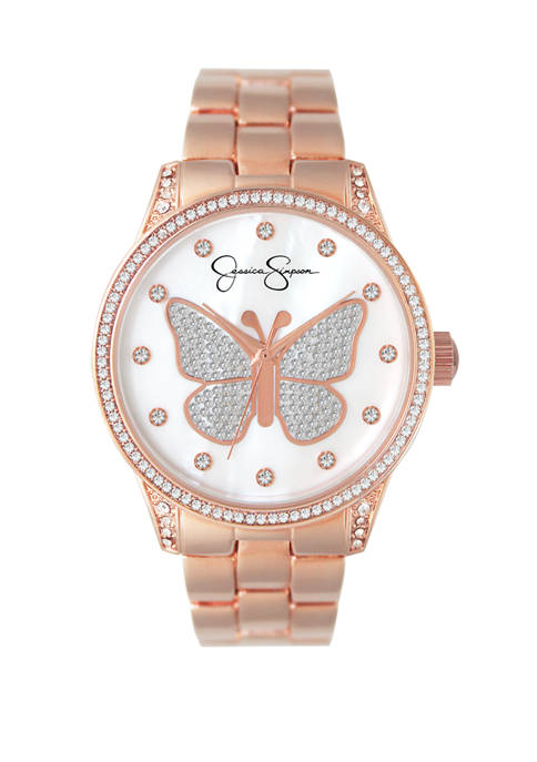 Rose Gold Tone Pave Crystal Butterfly Watch
