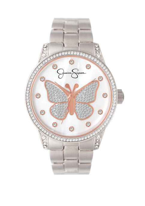 Silver Tone Pave Crystal Butterfly Watch