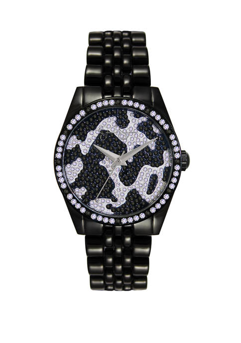 Black Plated Camo Pattern Pave Crystal Watch