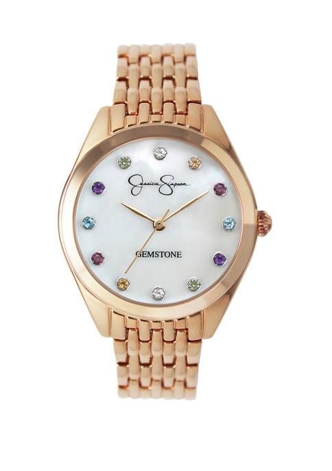 Womens Rose Gold Tone Genuine Rainbow Gemstone Dial Watch