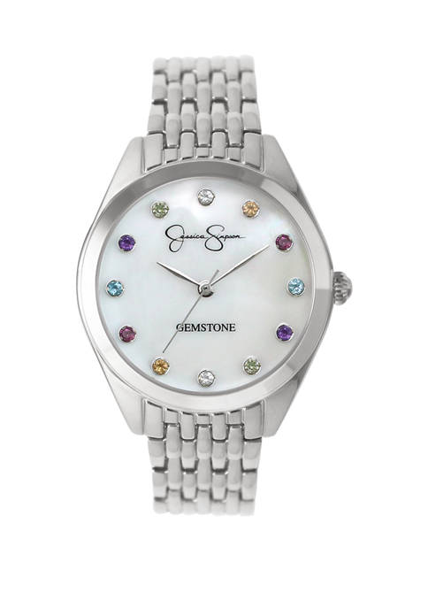 Jessica Simpson Womens Rose Silver Tone Genuine Rainbow