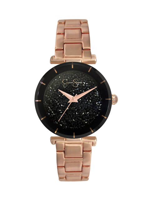 Rose Gold Tone Black Crushed Crystal Dial Watch