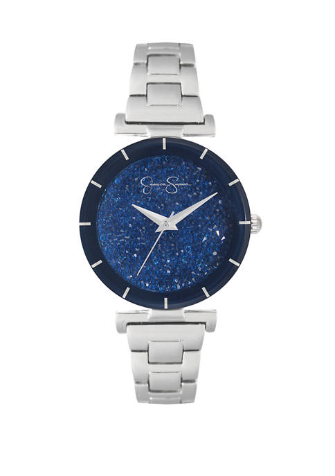 Silver Tone Blue Crushed Crystal Dial Watch