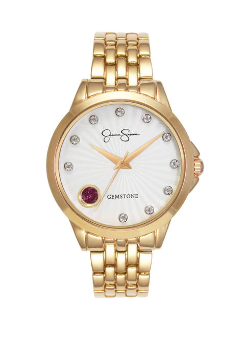 Womens Gold Tone Genuine Garnet and White Topaz Watch