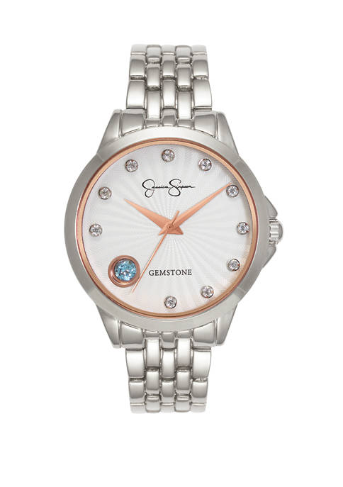 Womens Silver Tone Genuine Blue and White Topaz Watch