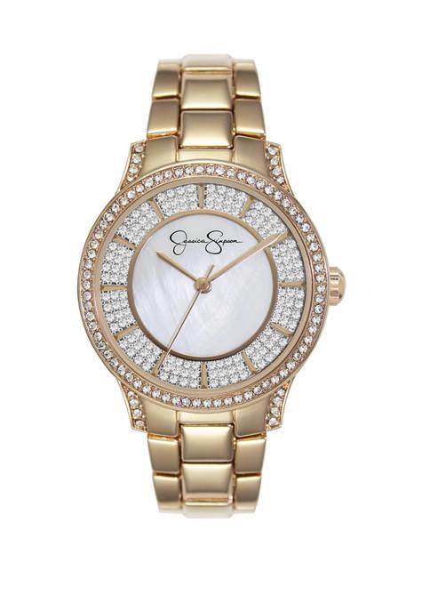 Womens Gold Tone Crystal Encrusted Bracelet Watch