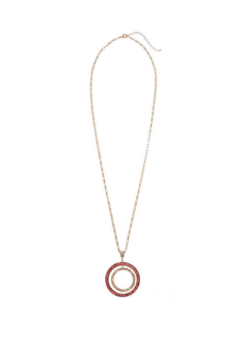 Gold Tone Beaded Ring Pendant Necklace