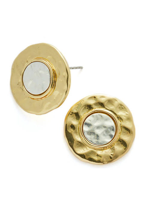 Two Tone Round Button Earrings