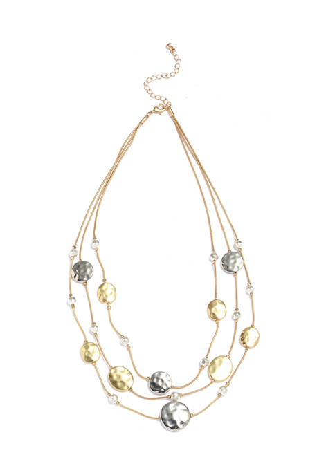 New Directions® Gold Tone 3 Row Illusion Necklace