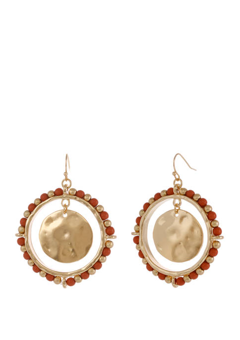Gold Tone Beaded Ring Earrings