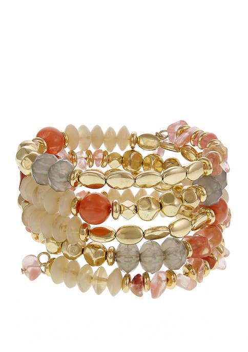 Gold Tone Beaded Coil Bracelet
