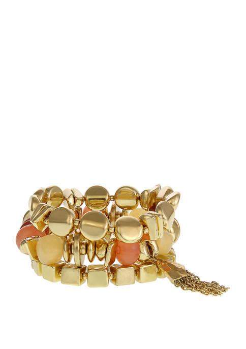 Gold Tone 3 on Beaded Bracelets