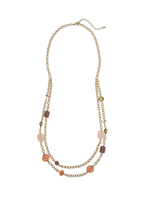 Gold Tone 2 Row Beaded Necklace with Beaded Accents