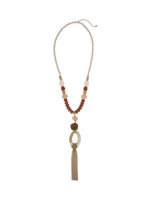Gold Tone Tassel Necklace with Rose Quartz  Beads