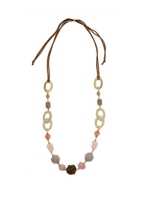 Gold Tone Adjustable Cord Necklace with Assorted Beads