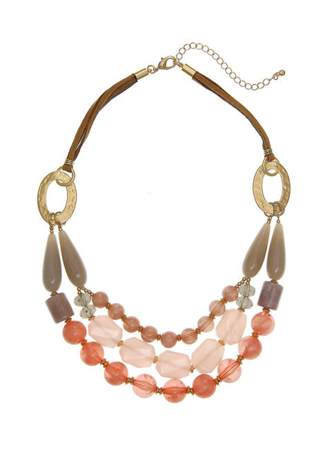 Gold Tone Beaded Frontal Necklace