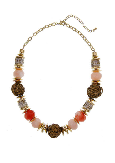 Gold Tone Chunky Beaded Necklace with Rose Quartz Beads