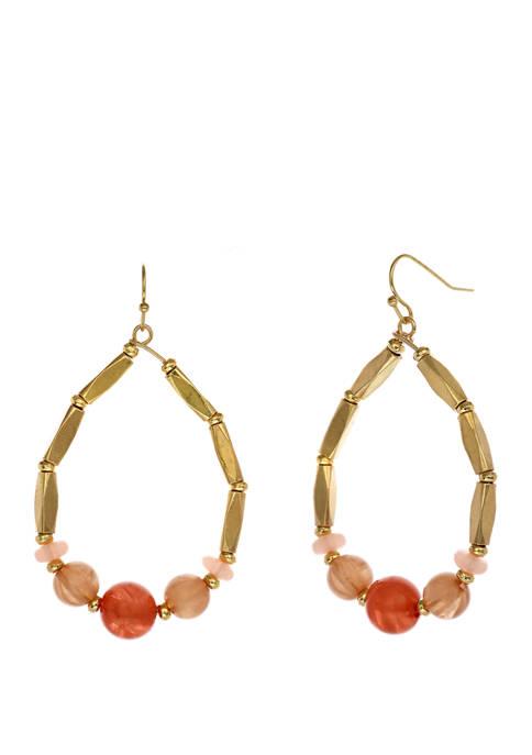 Gold Tone Beaded Teardrop Earrings
