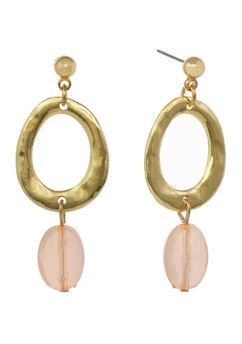 Gold Tone Ring Drop Earrings with Rose Quartz Bead
