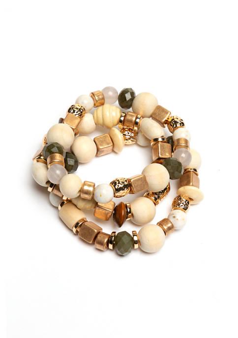 3 Piece Multi Bead Stretch Bracelets